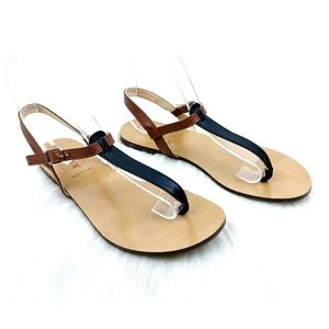 J.Crew Brown & Black Leather T-Strap Sandals